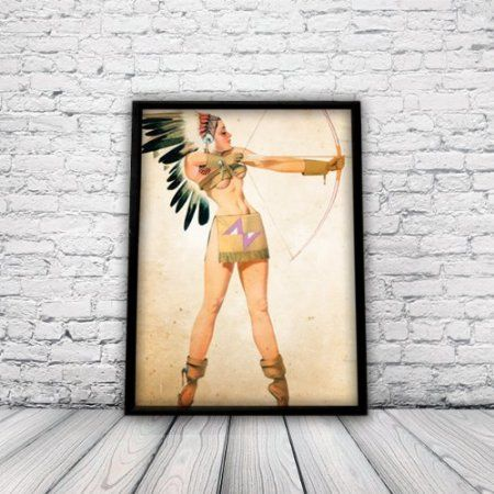Vintage Style Pin Up Girl, Native American, A3 Poster, Print, Wall
