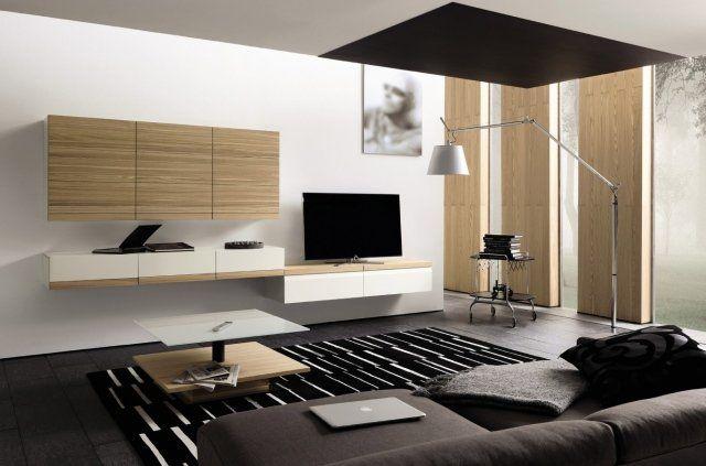 meuble TV flottant en blanc et bois clair dans le salon moderne