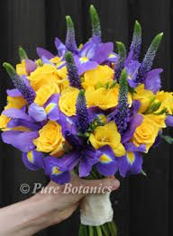 Best 36 wedding flowers images on pinterest wedding bouquets yellow and purple bridal bouquet made with irises for wedding at stoneleigh abbey mightylinksfo