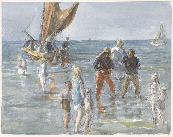Dame wordt door twee vissers van een boot naar het land gedragen, Johan Antonie de Jonge, 1874 - 1927