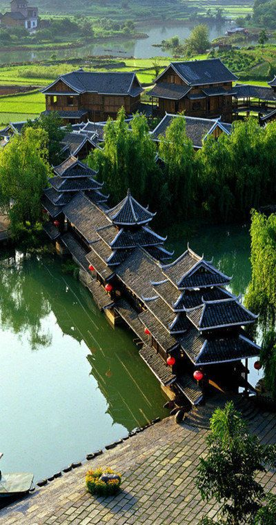 Old Chinese Village Park in Yangshuo, Guilin, China.