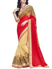 red , beige chinon silk and net half  saree - Online Shopping for Sarees