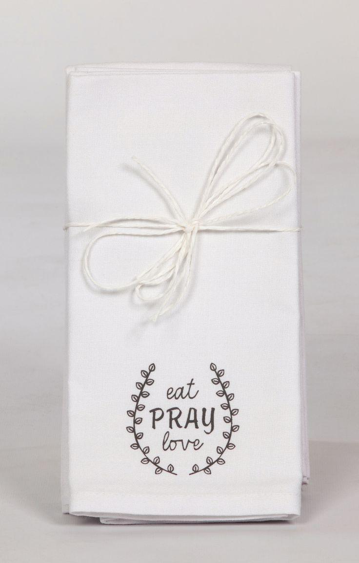 Eat Pray Love Cotton Napkins