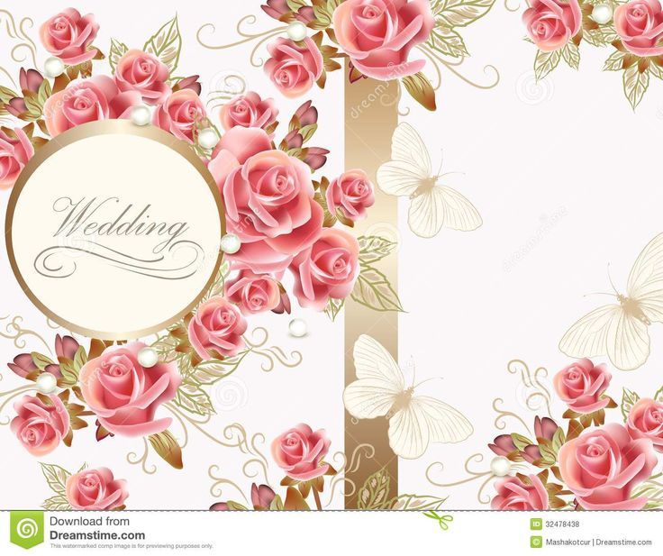 wedding-greeting-card-design-roses-vector-pink-vintage-style-32478438