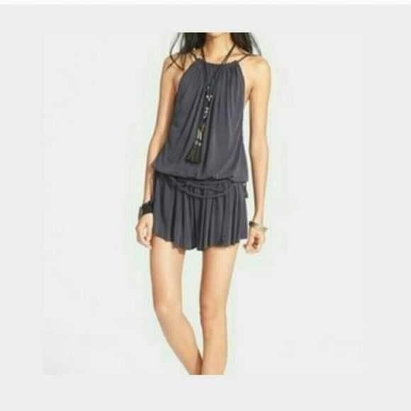 Free People Romper Cute navy netterd romper designed by Free People. Braided drape front detailing; soft pleated jersey design. Very cute and feels great.New with tags Free People Other