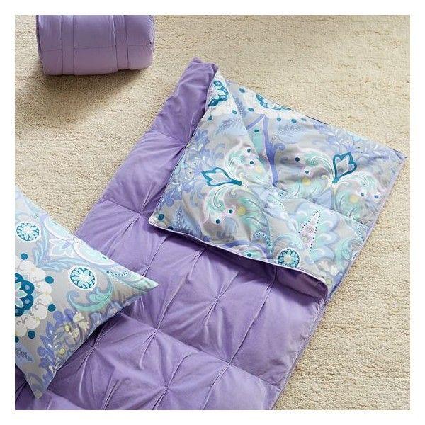 PB Teen Velvet Sleeping Bag, Lavender ($70) ❤ liked on Polyvore featuring home, bed & bath, bedding, bed sheets, lavendar bedding, velvet bedding, monogram pillow cases, monogrammed bedding and lavender bedding