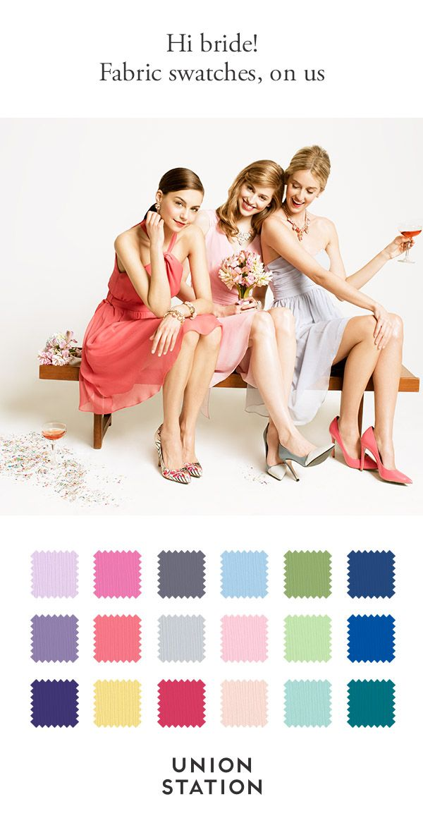 Bridesmaid dresses different styles same color fabric swatches
