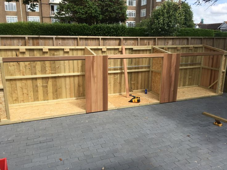 Installing a very wide shed which is effectively 3 sheds, for bikes and garden mowers/tools etc