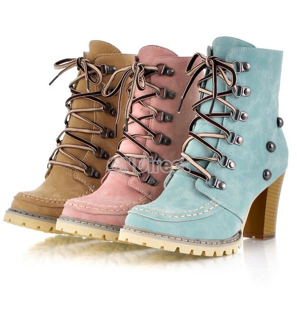 Women's Ankle High Heel Boots Lace Up Fashion Shoes