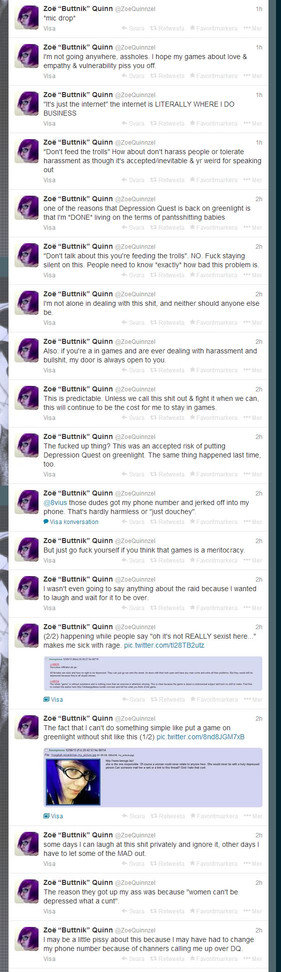 "Zoe Quinn (Depression Quest) on twitter speaks up against 4chan raid. ""I'm not going anywhere, assholes. I hope my games about love & empath..."