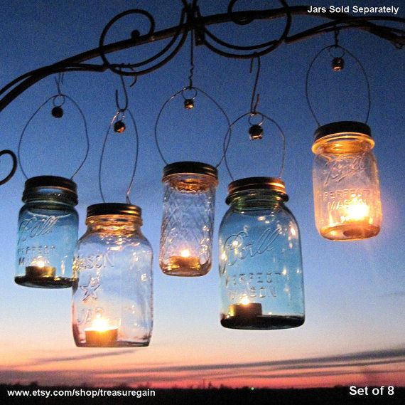 Holiday Candle Jar Gift 8 DIY Hostess or Favor Gifts Silver Gold Mason Jar Holiday Party Lanterns with Bells, No Jars