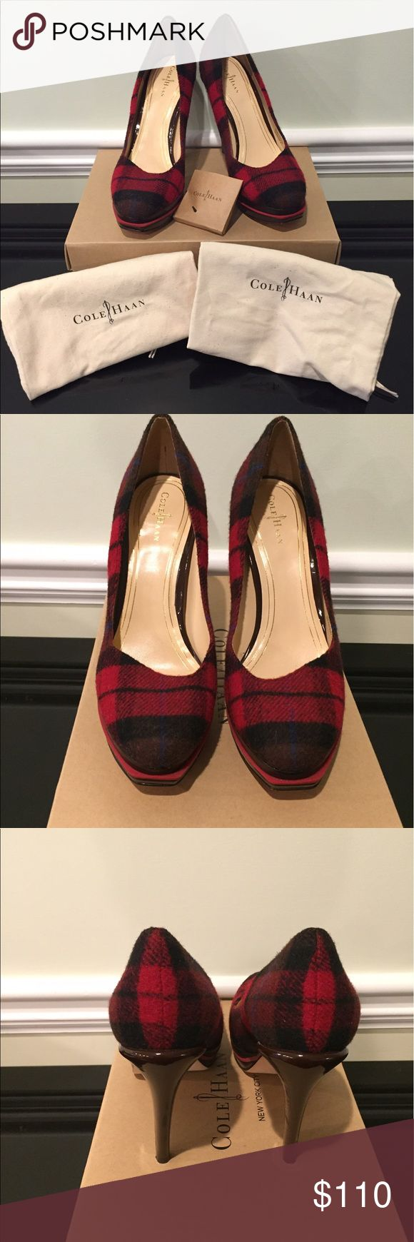 Cole Haan Chelsea Red Plaid pumps. Sz 8.5. EUC! Cole Haan Chelsea Red Plaid pumps. Double platform. Amazing condition. Worn maybe once or twice. Size 8.5. Original box and dustbags included! Cole Haan Shoes Heels