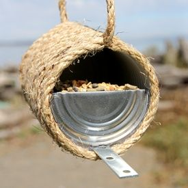 Grab the kids and upcycle a tin can into a sisal rope bird feeder. Make this fun and inexpensive DIY project in less than 30 minutes.