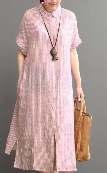 2016 pink cotton dresses New design linen sundress open hem