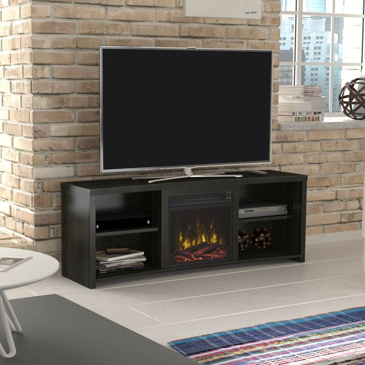 "Star Shelter Cove TV Stand for TVs up to 65"" with Electric Fireplace, Walnut"