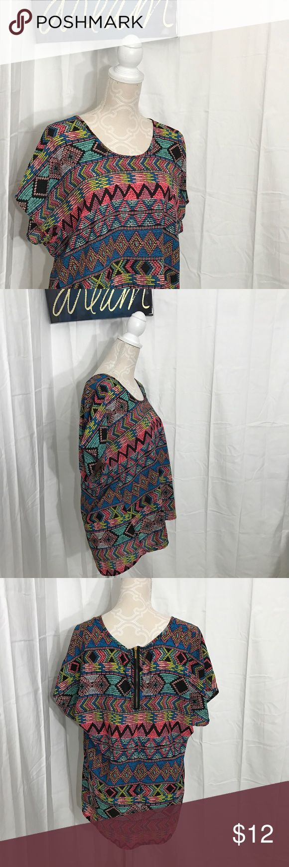 Colorful aztec blouse top size Large Excellent condition! Size rag missing, but is a junior large/ xl Tops Blouses