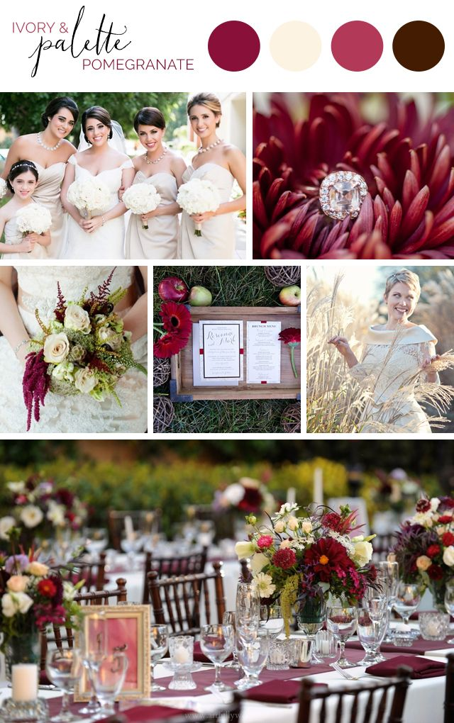 Artful Palette: Pomegranate Wedding Ideas for Fall and Winter in Pomegranate, Smoky Topaz, Ivory and Espresso