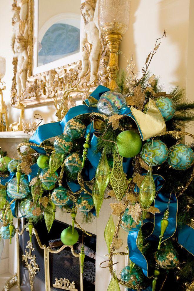Suzy q, better decorating bible, blog, Christmas, décor, pink, green, blue, tree, ribbon, mantel, bows, ornaments, tobi fairley, holiday, fu...