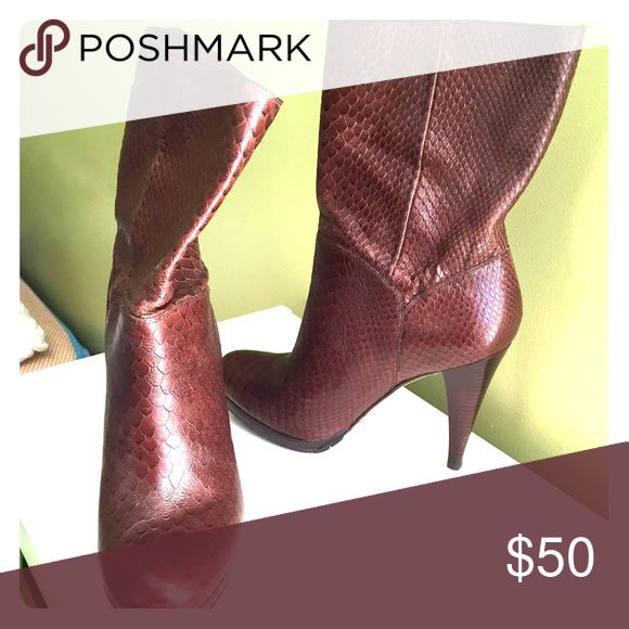 Brown boots offers are welcome!!! Colé Haan boots, gorgeous brown snake skin. Like new Cole Haan Shoes Heeled Boots