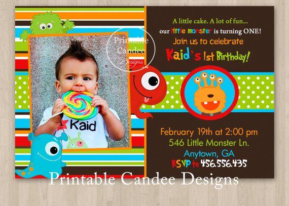 Monster 1st Birthday Invitation Brown  Custom by printablecandee, $10.00