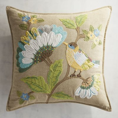 Flowers make any space homier, so bring the beauty of nature indoors to enjoy year-round. Our handcrafted cotton pillow's sure to make your sofa a prettier place to be, and the plump, supportive poly insert—accessible via a hidden zipper—has the comfy factor covered.