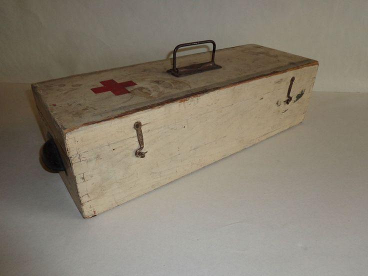 alter großer Verbandskasten 1 WK 2 WK rotes Kreuz Holzkasten Kiste  903  | eBay