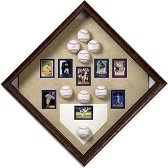 Great gift idea for the baseball lover in your life! Incorporate signed baseballs and hang it at a diagonal angle - fun!