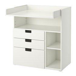 IKEA - STUVA, Puslebord med 3 skuffer, hvid, , Puslebordet vokser med dit barn og kan nemt forvandles til et skrivebord eller et sted at lege. Sænk pladen til den ønskede højde, og forvandl det til et skrivebord.Praktisk opbevaringsplads inden for rækkevidde. Du kan hele tiden ha' en hånd på din baby.Du kan tilpasse pladsen efter behov, for de små hylder er flytbare og kan placeres i den ønskede højde.