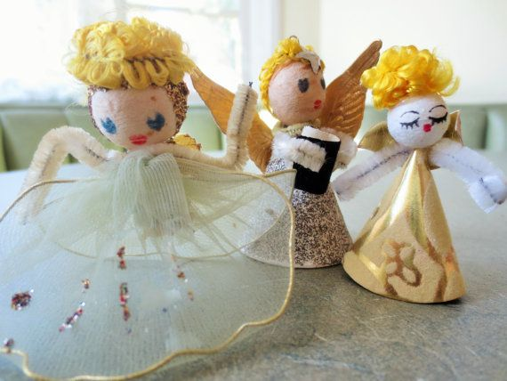 Vintage Angels, Spun Cotton Heads, Christmas Decor, Made in Japan, Midcentury Christmas, Glittered Angels, Three Angels, Cute Kawaii Zakka