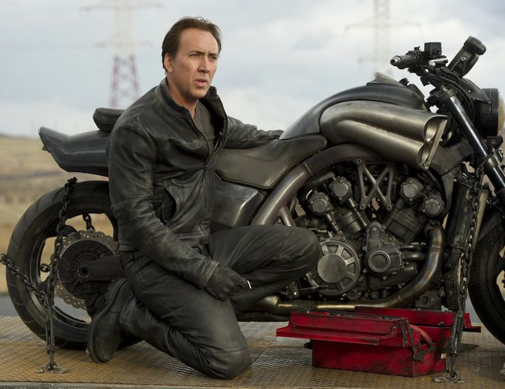 Ghost Rider Bike: Nicolas Cage Next to the Hell Cycle (Yamaha VMAX) - the Prop Motorcycle from Ghost Rider: Spirit of Vengeance (2011)