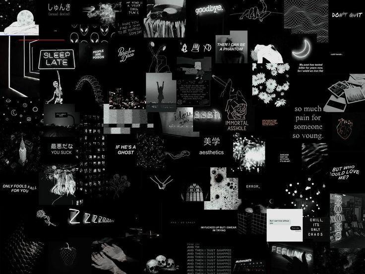 Shade Grunge Collage Laptop Wallpaper Br In 2020 Aesthetic Desktop Wallpaper Laptop Wallpaper Black Aesthetic Wallpaper