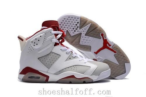 newest collection bf957 4a100 Original Jordan Shoes New Air Jordan 6 Alternate White Grey Red Shoes -
