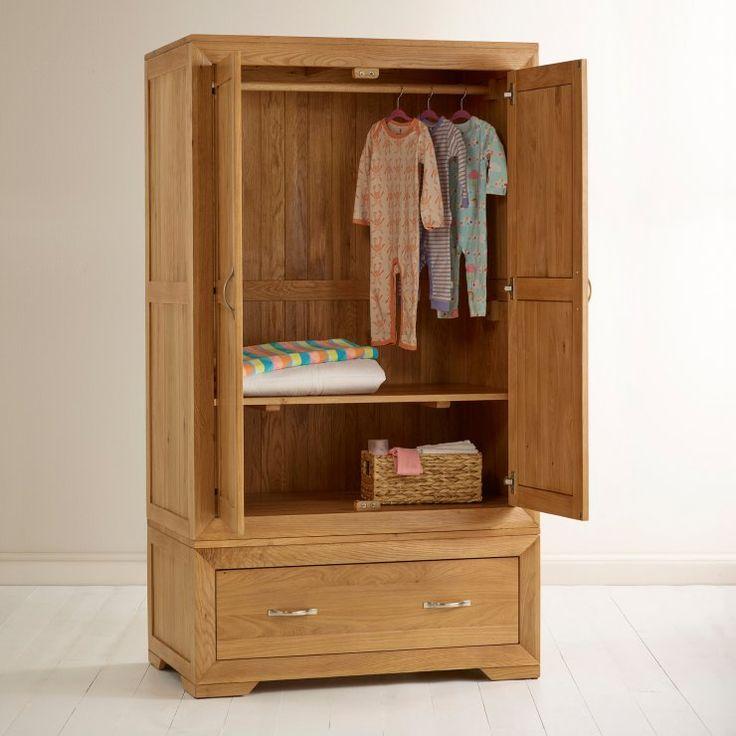 Bevel Natural Solid Oak Wardrobe
