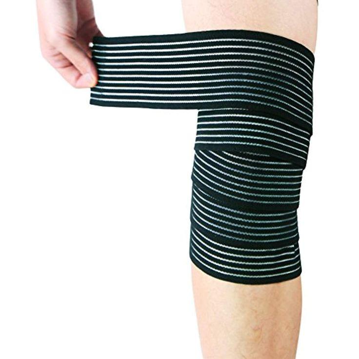 2pcs elastic compression bandage wraps used as knee