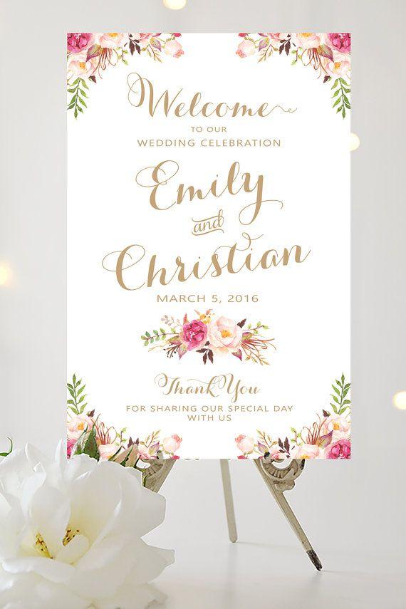 wedding welcome sign large wedding poster various sizes vintage antique gold floral. Black Bedroom Furniture Sets. Home Design Ideas