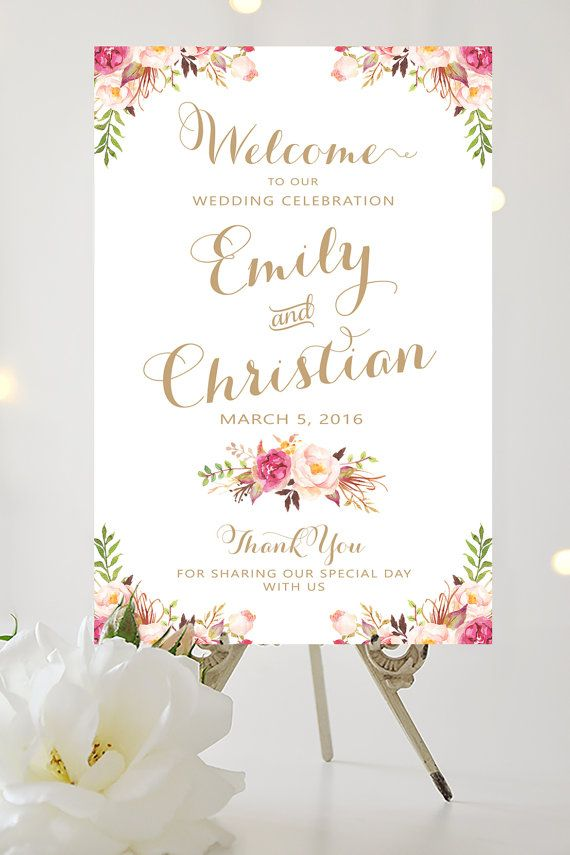 wedding welcome sign large wedding poster romantic blooms vintage gold script personalized