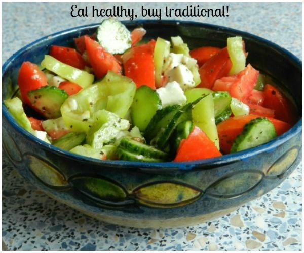 summer salad in traditional ceramic bowl