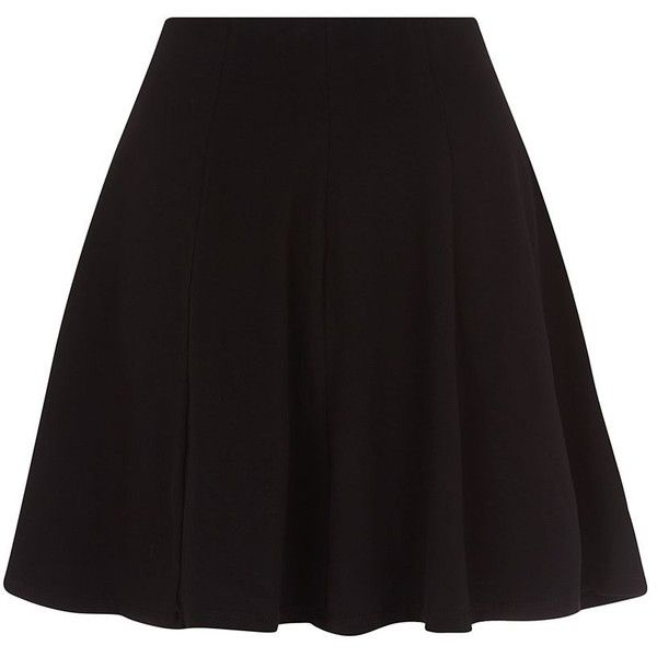 Black Skater Skirt ($16) ❤ liked on Polyvore featuring skirts, bottoms, black, midi skirt, skater skirt, midi circle skirt, black knee length skirt and flared skirt