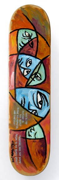 """2004  (some blank deck)  Model: Religions (AKA """"Spiritual Test"""")  Specs: 7.5"""" x 31.5"""", 7-ply maple, wood by Zenith (Acme).  Printing: Acrylic paint.  NOTES: Getting back to my 1980's style stained glass Blockhead art. The two quotes say: """"Have all the religions of this planet become old, distracted, and confused?"""" """"Therefore, have they become poison to the human spirit?"""" (my own quote). Just something to stew on..."""