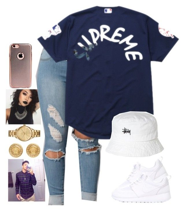 """Day out with bae"" by lexiii-caniff ❤ liked on Polyvore featuring NIKE, Supreme, Versace, Lacoste and Stussy"