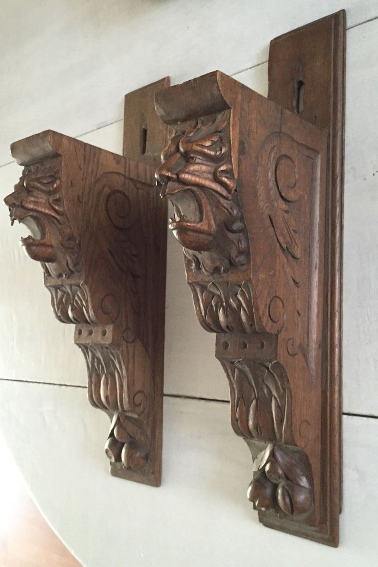 Pair Oak Carved Wood Wall Brackets Shelf Supports W Lion