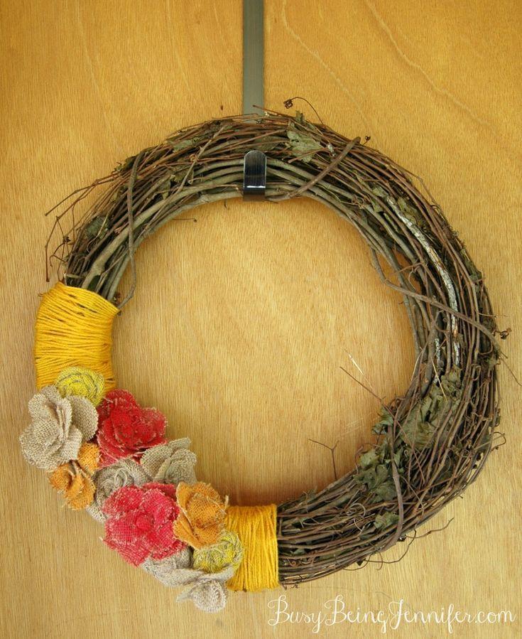Painted Burlap Flower Fall Wreath - BusyBeingJennifer.com