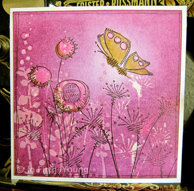 handmade card ... looks like a piece of art ... hot pinks ... collage stamping techniques ... Distress Inks ... luv it!!
