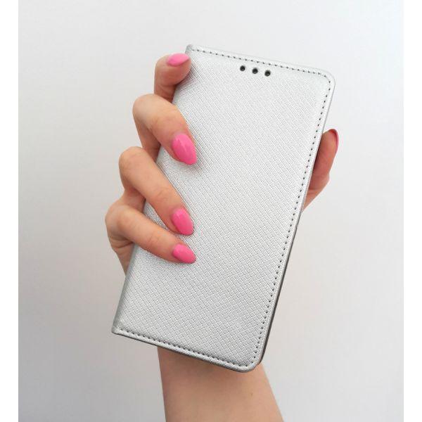 Etui portfelowe książeczka do Huawei P9 Lite srebrny MAGNET BOOK na magnes