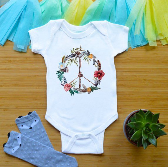 positive message girl boy clothing children clothes hippie babies peace sign baby /& toddler bodysuit boho 70s newborn infant