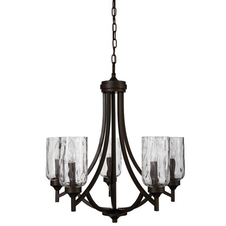 allen + roth Latchbury 23.73-in 5-Light Aged Bronze Craftsman Textured Glass Shaded Chandelier