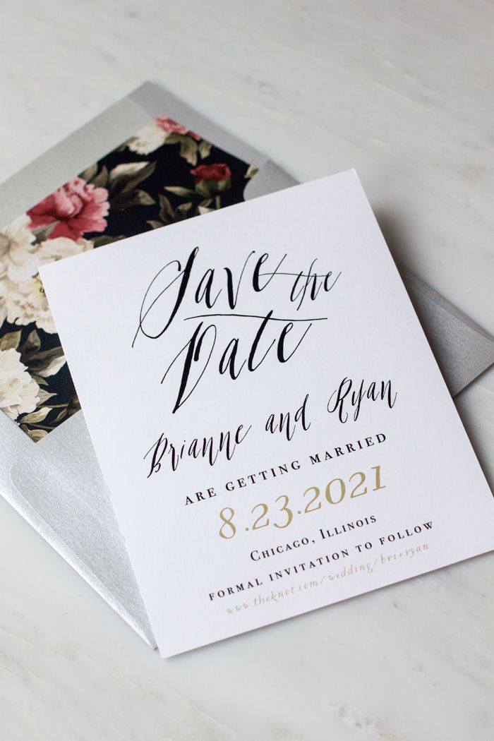 how to address wedding invitations inside envelope%0A Modern and Elegant Calligraphy Inspired Save The Dates with Floral Envelope  Liners