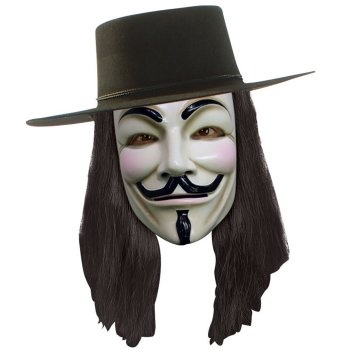 V for Vendetta Mask: http://www.myhalloweencostumes.com/v-for-vendetta-mask.php - Includes a white plastic Guy Fawkes mask just like the one in the movie. One size fits most adults. Hat and wig sold separately. This is an officially licensed V for Vendetta product.