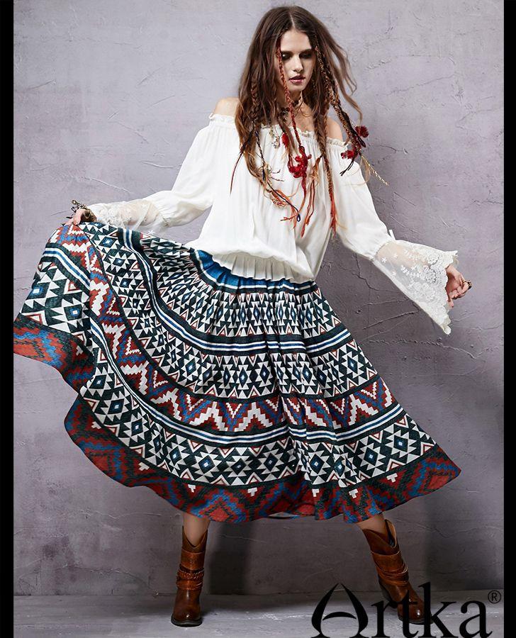 Расклешенная юбка с орнаментом в этническом стиле, 43769547936 купить за 11340 руб. с доставкой по России, Украине, Беларуси и миру | Юбки | Artka: интернет-магазин обуви и одежды Artka