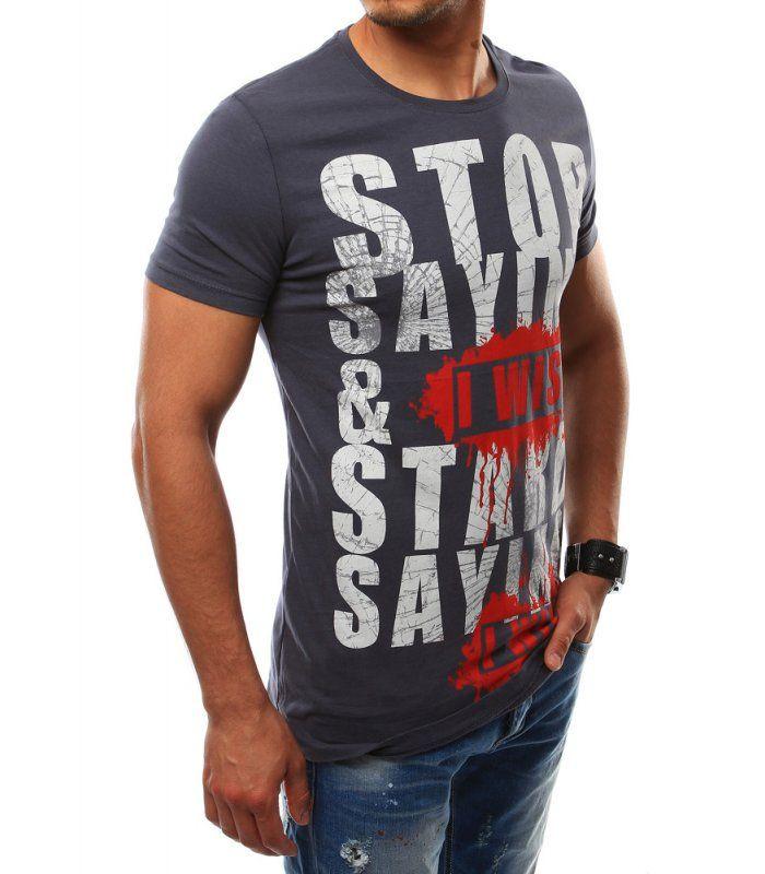 Pánske grafitové tričko s potlačou